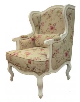 Английское кресло с ушами, отделка «Цветы»