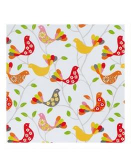 Ткань «Веселые птички» оранжево-желтые