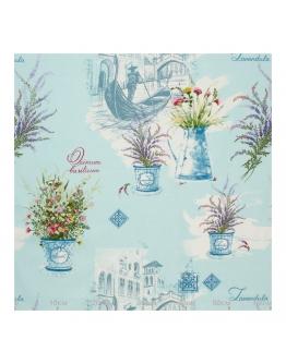Ткань «Горшочки лаванды» голубой фон