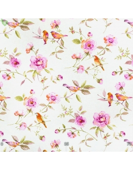 Ткань «Амалия» ярко-фиолетовые цветы и птички
