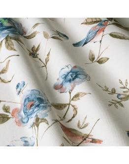 Ткань «Амалия» голубые цветы и красные птички