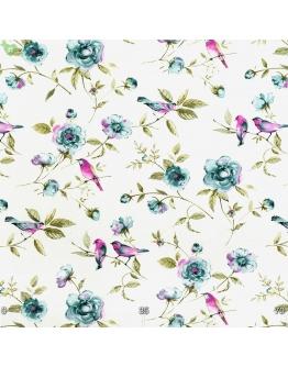 Ткань «Амалия» голубые цветы и фиолетовые птички