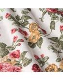 Ткань «Джулес» желто-бордоваые цветы