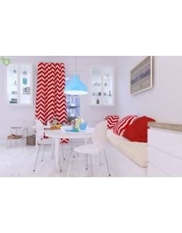 Ткань «Изолда» широкие красные полосы
