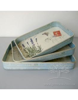 Набор подносов «Голубая лаванда» (3 шт)