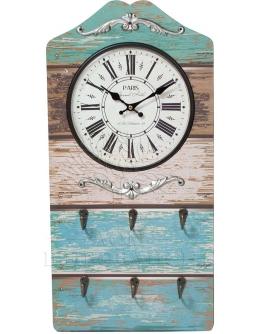 Часы настенные  с крючками, МДФ, металл
