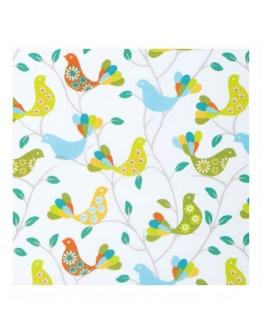 Ткань «Веселые птички» бирюзовые