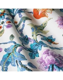 Ткань «Алесто» фиолетовые и оранжевые цветы