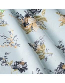 Ткань «Аугуста» бежево-голубые цветы