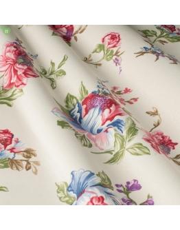Ткань «Аугуста» бордово-голубые цветы