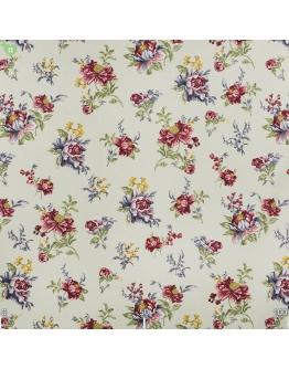 Ткань «Аугуста» бордово-синие цветы