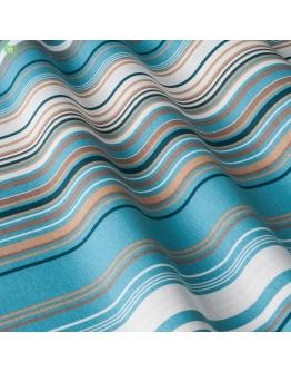 Ткань «Виола» бежево-голубые полосы