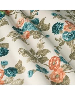 Ткань «Джулес» красно-оранжевые цветы