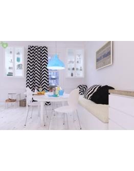Ткань «Изолда» черно-белые широкие полосы